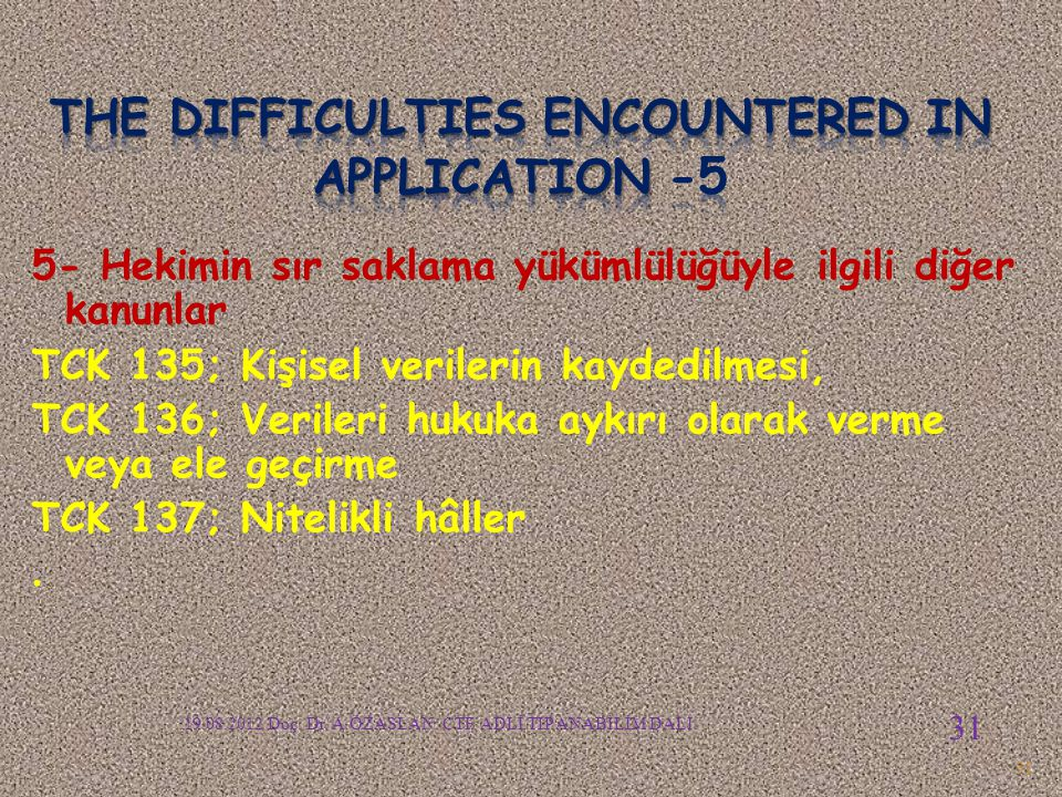 The difficulties encountered in APPLICATION -5