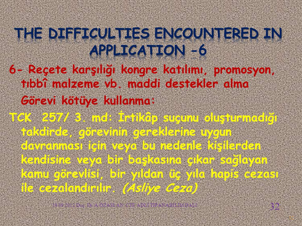 The difficulties encountered in APPLICATION -6
