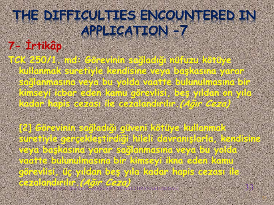 The difficulties encountered in APPLICATION -7