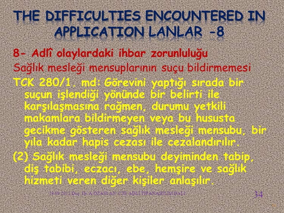 The difficulties encountered in APPLICATION LANLAR -8