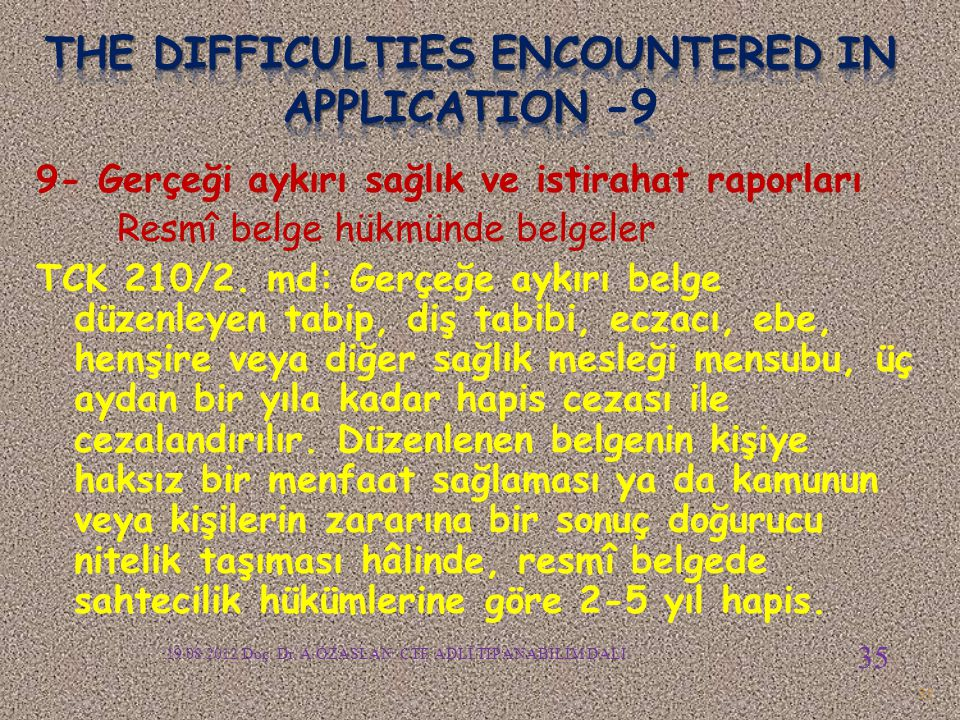 The difficulties encountered in APPLICATION -9