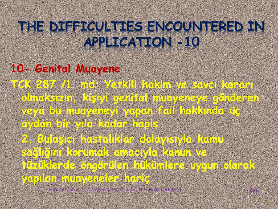 The difficulties encountered in APPLICATION -10