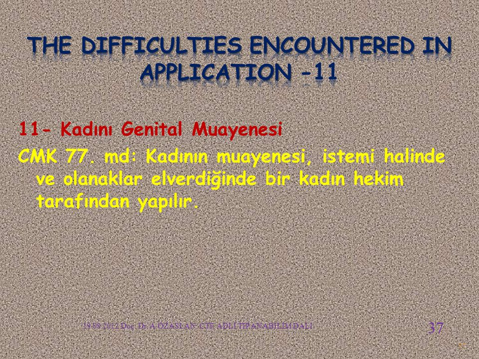 The difficulties encountered in APPLICATION -11