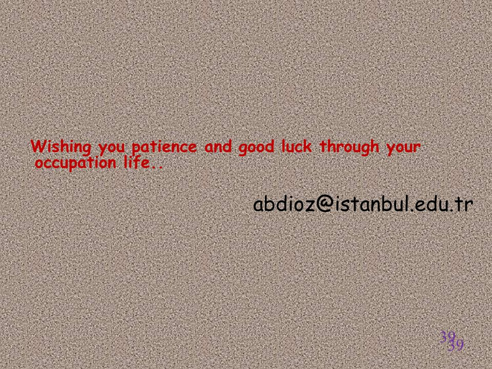 Wishing you patience and good luck through your occupation life..