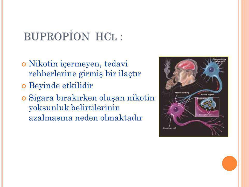BUPROPİON HCl : Nikotin içermeyen, tedavi rehberlerine girmiş bir ilaçtır. Beyinde etkilidir.