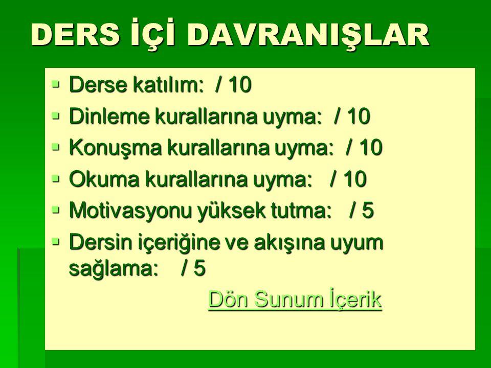 DERS İÇİ DAVRANIŞLAR Derse katılım: / 10