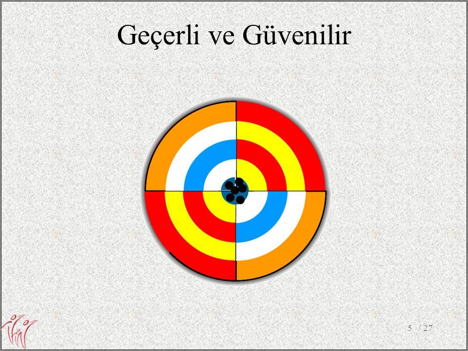 Geçerli ve Güvenilir Güvenilirlik: Test-retest reliability (measure of an individual score is consistent over time)
