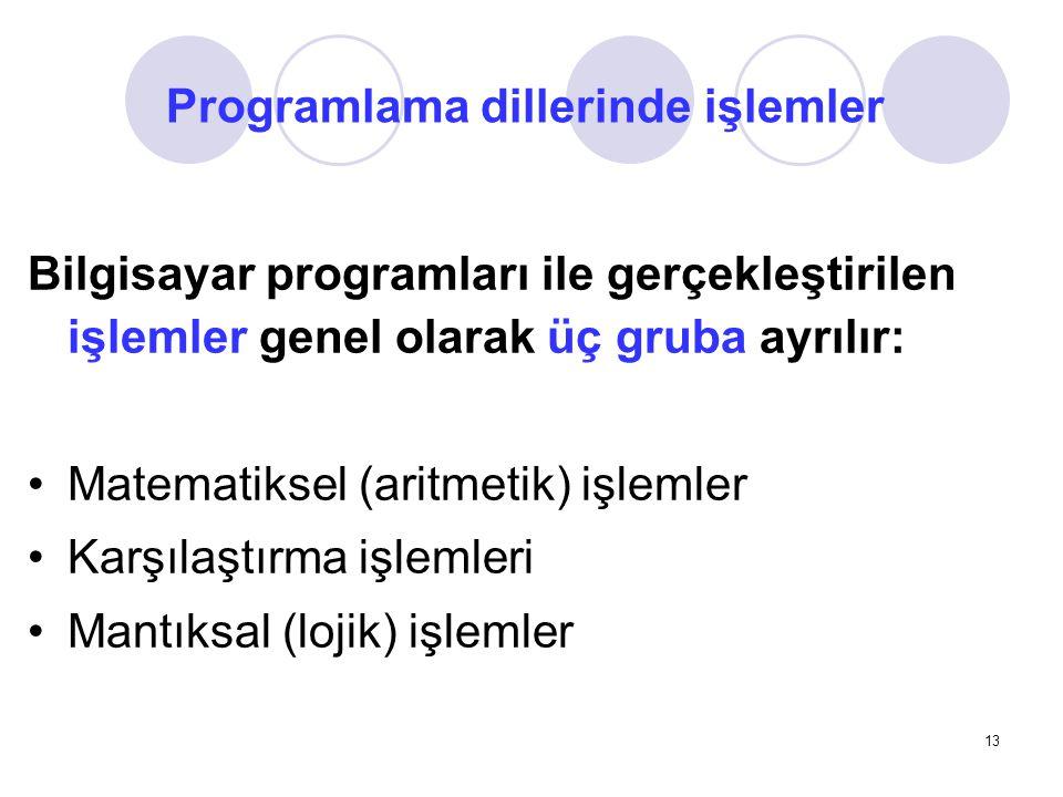 Programlama dillerinde işlemler