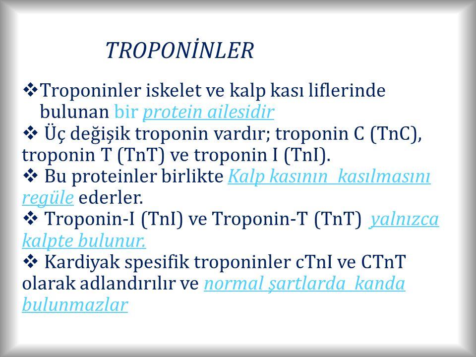 TROPONİNLER Troponinler iskelet ve kalp kası liflerinde bulunan bir protein ailesidir.