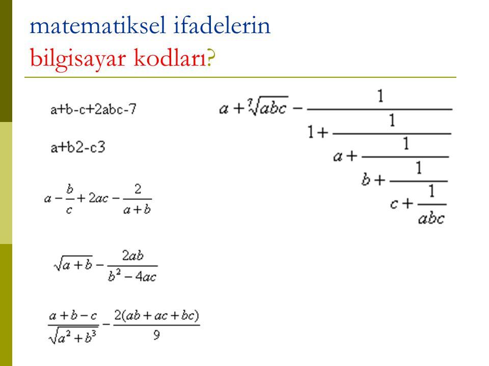 matematiksel ifadelerin bilgisayar kodları