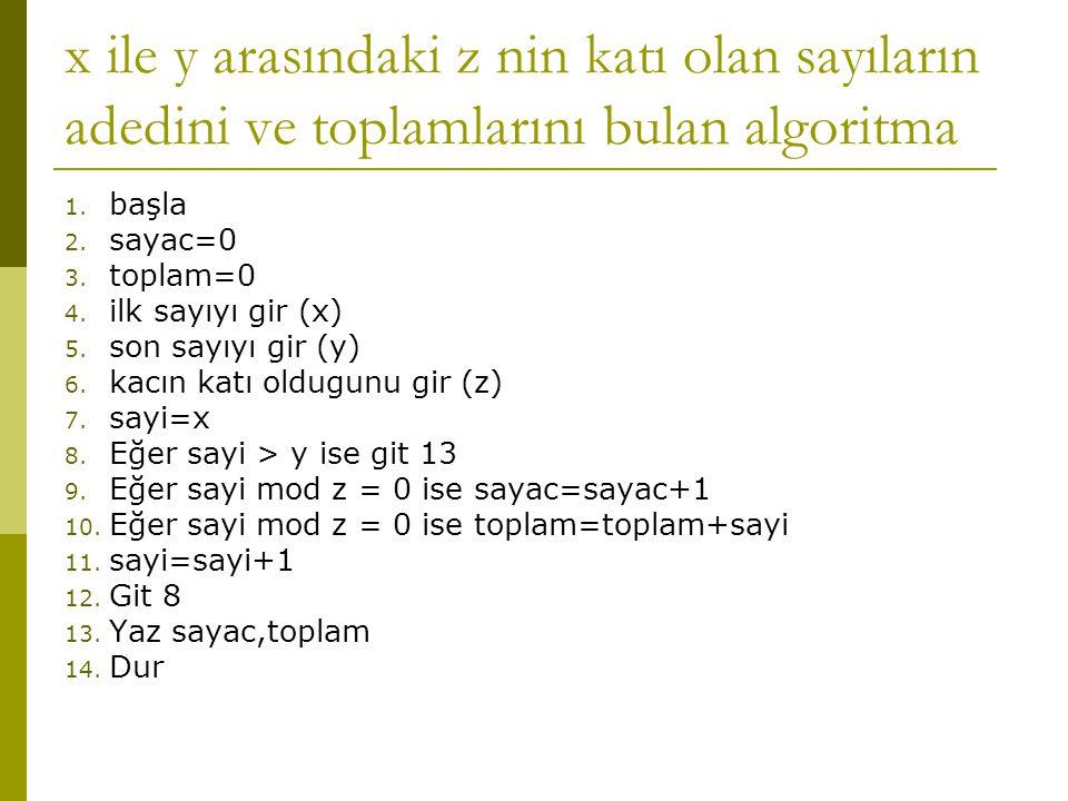 x ile y arasındaki z nin katı olan sayıların adedini ve toplamlarını bulan algoritma