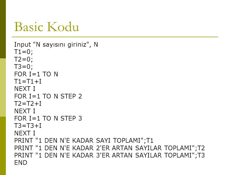 Basic Kodu Input N sayısını giriniz , N T1=0; T2=0; T3=0;