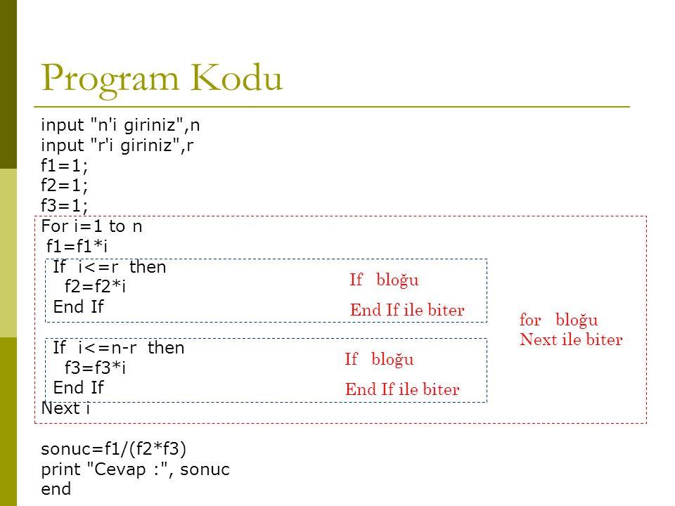 Program Kodu input n i giriniz ,n input r i giriniz ,r f1=1; f2=1;