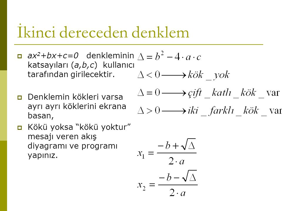 İkinci dereceden denklem