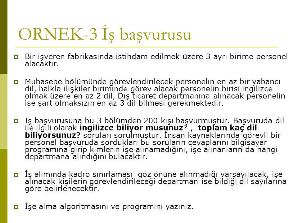ORNEK-3 İş başvurusu Bir işveren fabrikasında istihdam edilmek üzere 3 ayrı birime personel alacaktır.