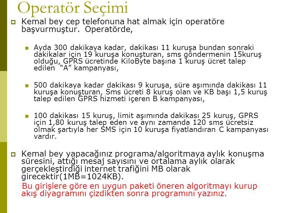 Operatör Seçimi Kemal bey cep telefonuna hat almak için operatöre başvurmuştur. Operatörde,