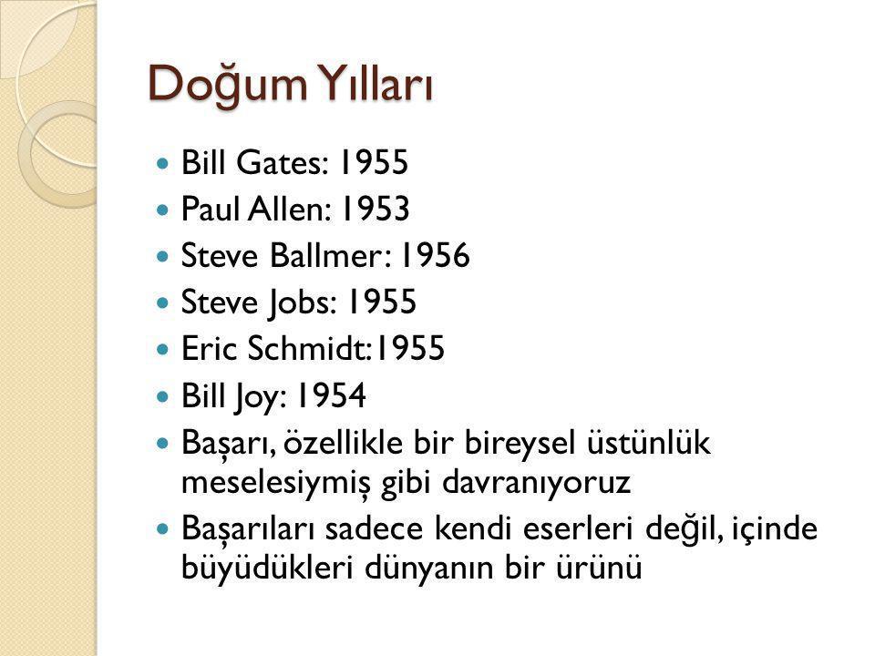 Doğum Yılları Bill Gates: 1955 Paul Allen: 1953 Steve Ballmer: 1956