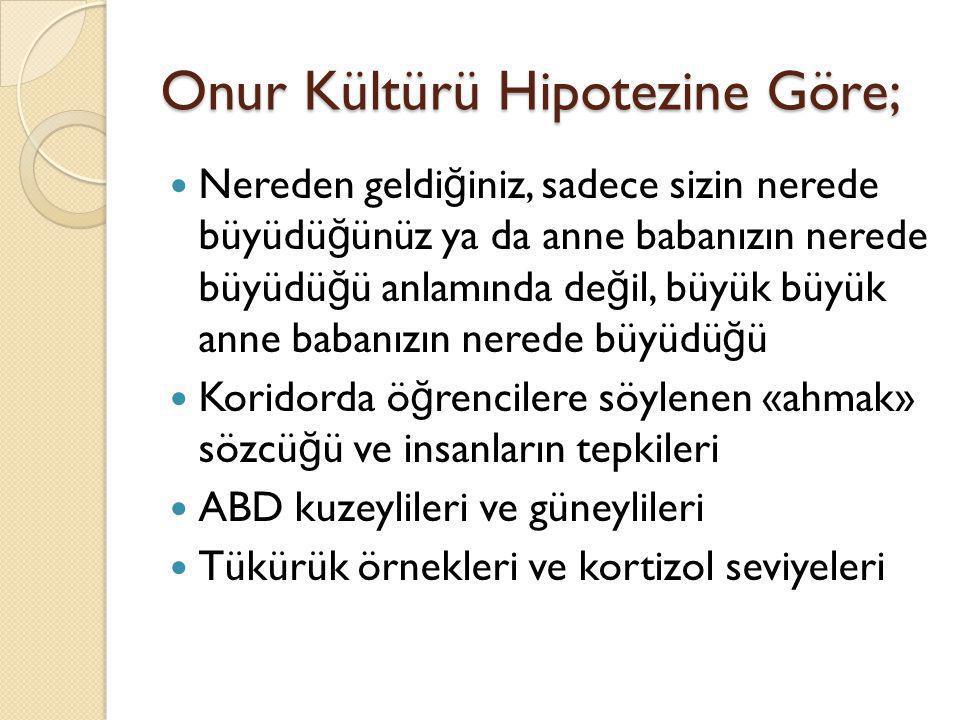 Onur Kültürü Hipotezine Göre;