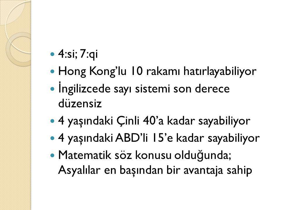 4:si; 7:qi Hong Kong'lu 10 rakamı hatırlayabiliyor. İngilizcede sayı sistemi son derece düzensiz.