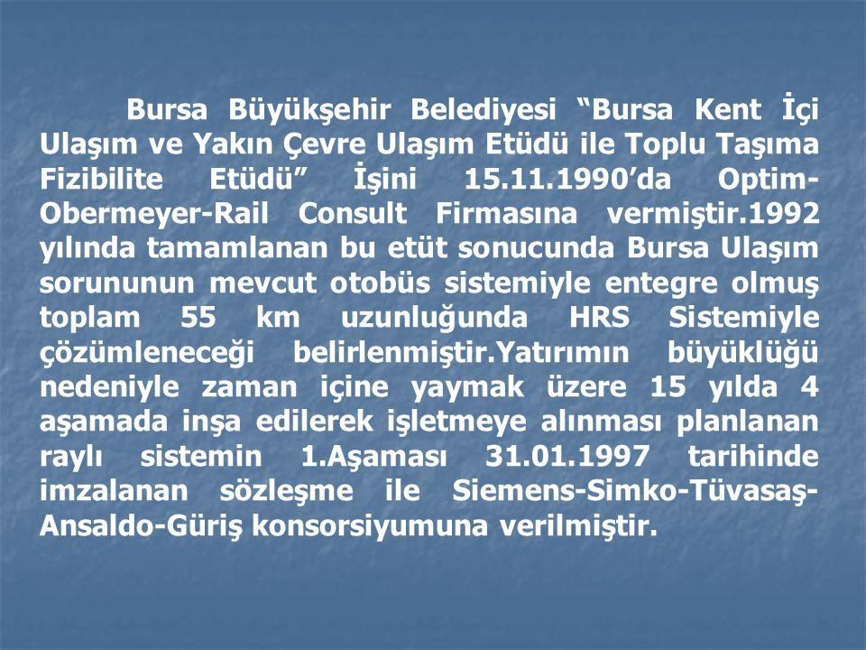 Bursa Büyükşehir Belediyesi Bursa Kent İçi Ulaşım ve Yakın Çevre Ulaşım Etüdü ile Toplu Taşıma Fizibilite Etüdü İşini 15.11.1990'da Optim-Obermeyer-Rail Consult Firmasına vermiştir.1992 yılında tamamlanan bu etüt sonucunda Bursa Ulaşım sorununun mevcut otobüs sistemiyle entegre olmuş toplam 55 km uzunluğunda HRS Sistemiyle çözümleneceği belirlenmiştir.Yatırımın büyüklüğü nedeniyle zaman içine yaymak üzere 15 yılda 4 aşamada inşa edilerek işletmeye alınması planlanan raylı sistemin 1.Aşaması 31.01.1997 tarihinde imzalanan sözleşme ile Siemens-Simko-Tüvasaş-Ansaldo-Güriş konsorsiyumuna verilmiştir.