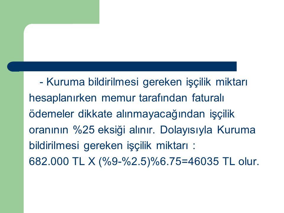 - Kuruma bildirilmesi gereken işçilik miktarı