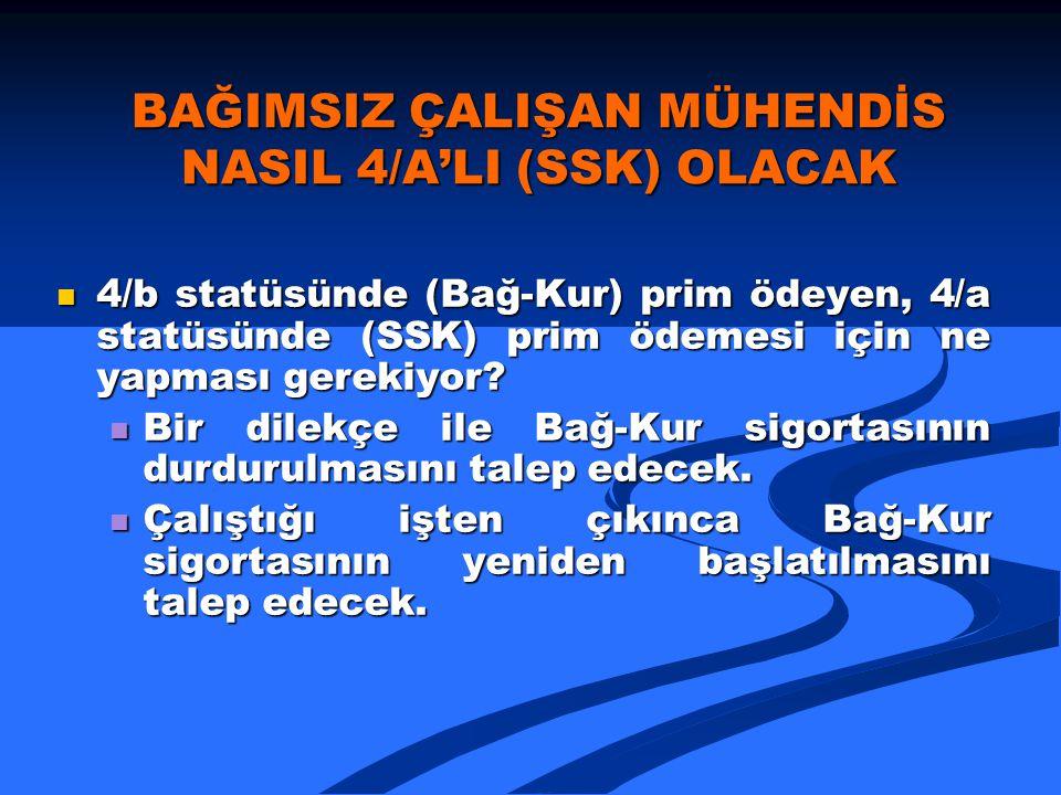BAĞIMSIZ ÇALIŞAN MÜHENDİS NASIL 4/A'LI (SSK) OLACAK