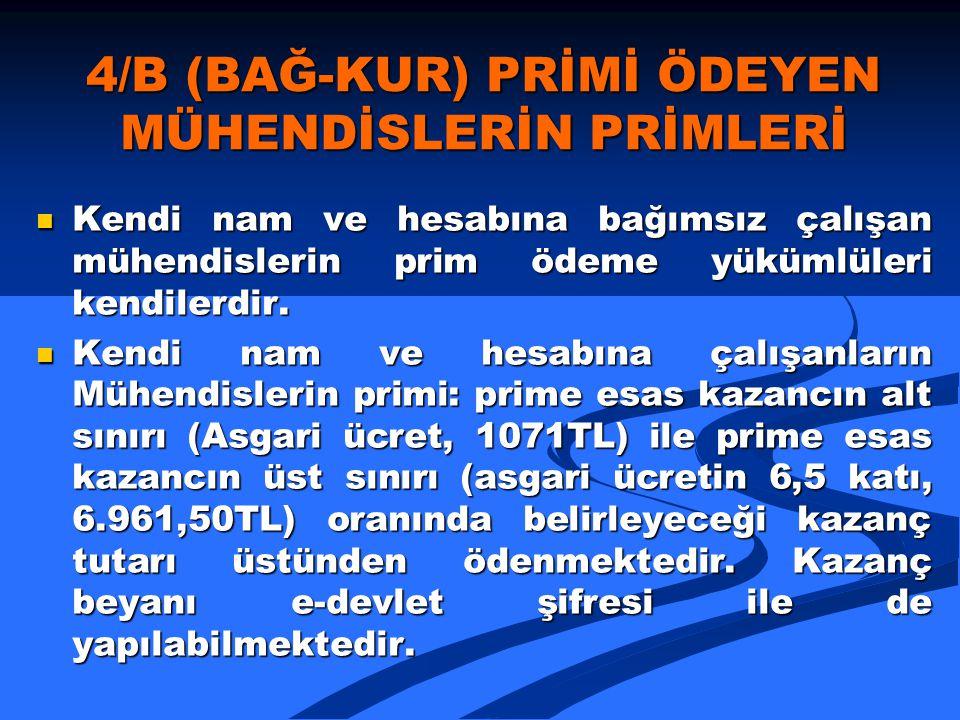 4/B (BAĞ-KUR) PRİMİ ÖDEYEN MÜHENDİSLERİN PRİMLERİ
