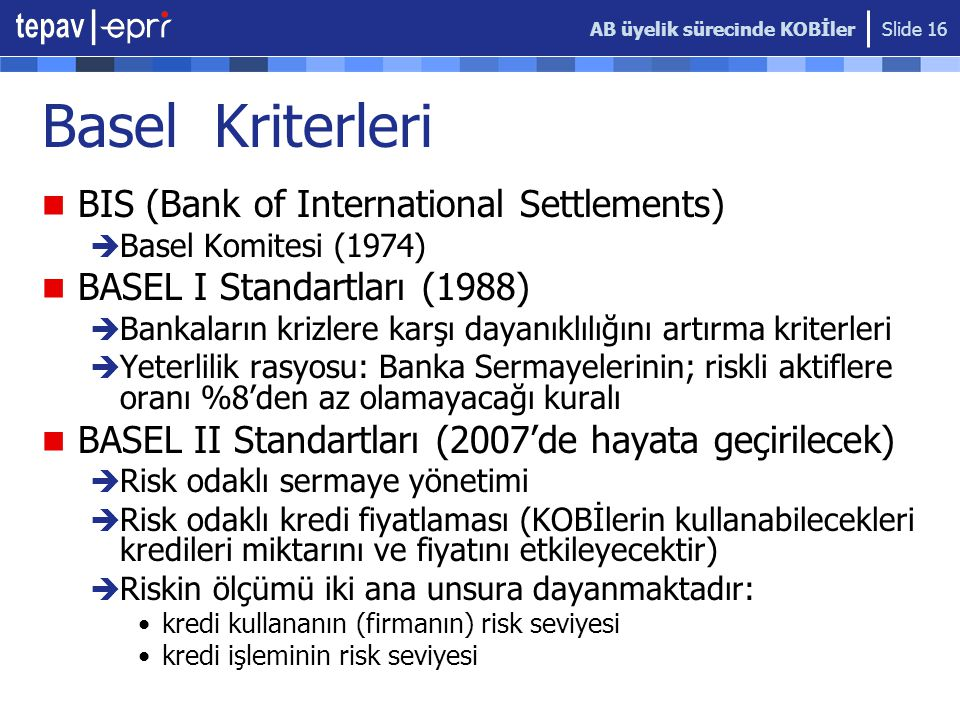 Basel Kriterleri BIS (Bank of International Settlements)