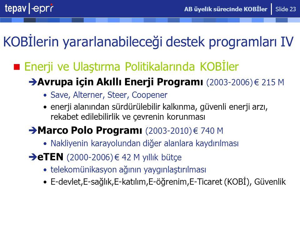 KOBİlerin yararlanabileceği destek programları IV