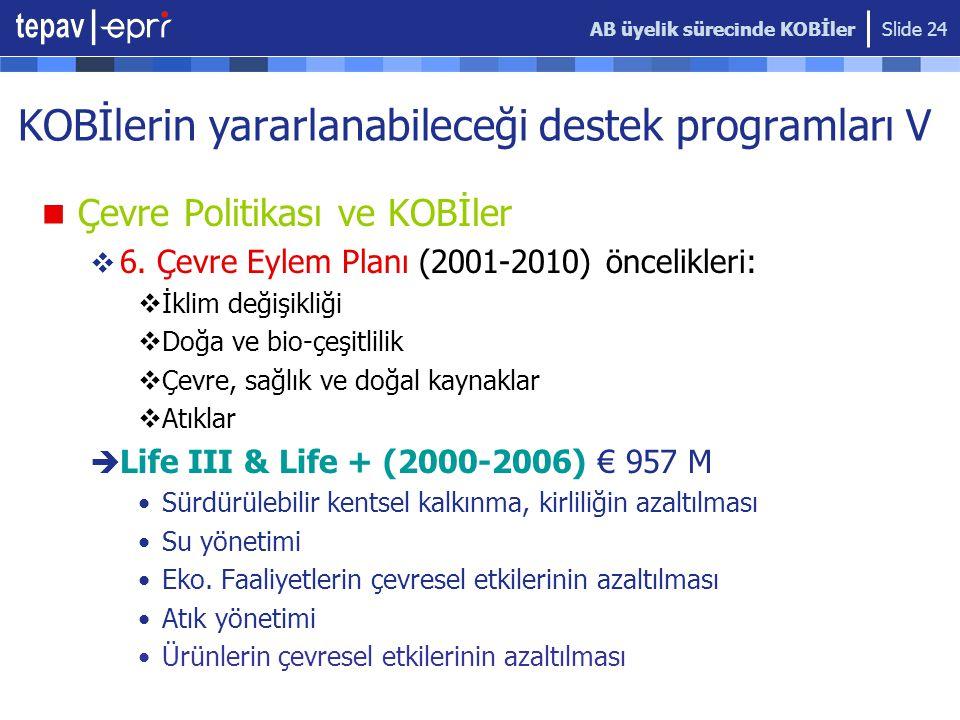 KOBİlerin yararlanabileceği destek programları V