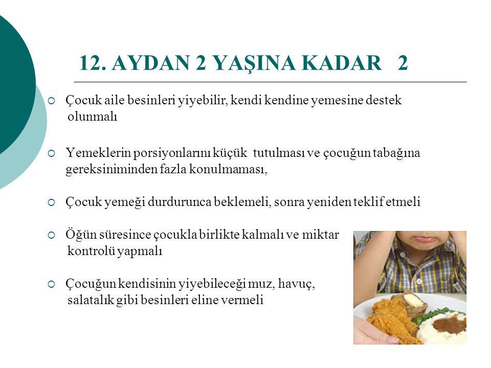 12. AYDAN 2 YAŞINA KADAR 2 Çocuk aile besinleri yiyebilir, kendi kendine yemesine destek. olunmalı.