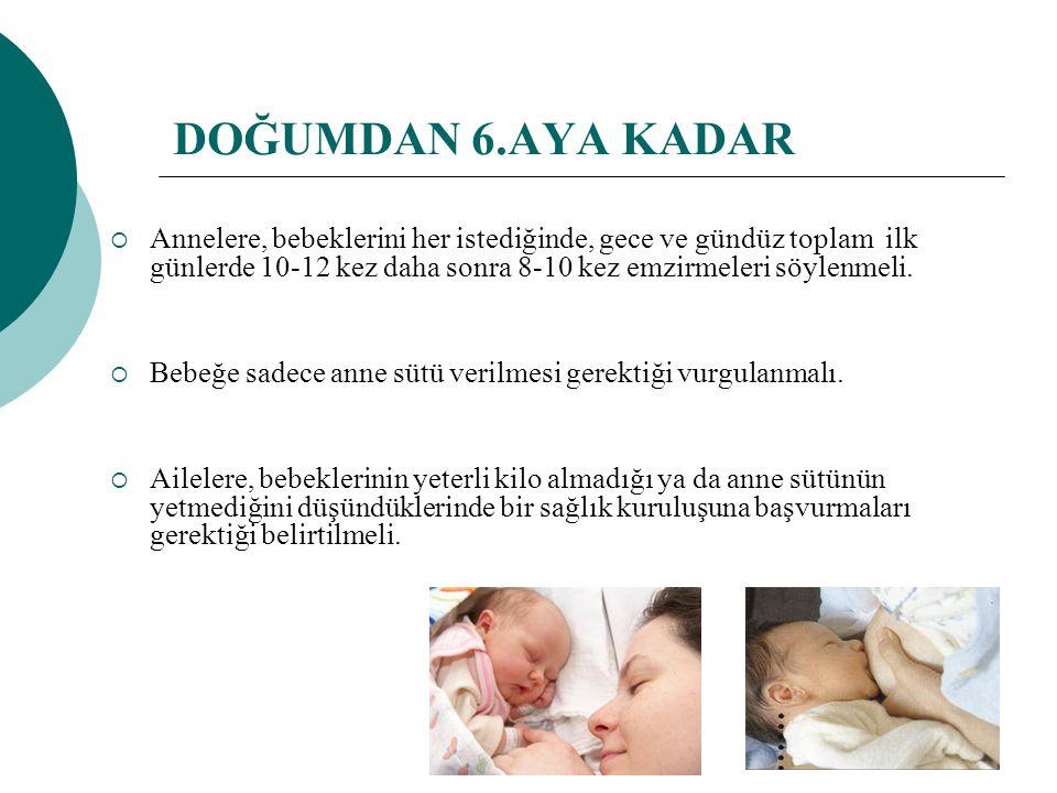 DOĞUMDAN 6.AYA KADAR Annelere, bebeklerini her istediğinde, gece ve gündüz toplam ilk günlerde 10-12 kez daha sonra 8-10 kez emzirmeleri söylenmeli.