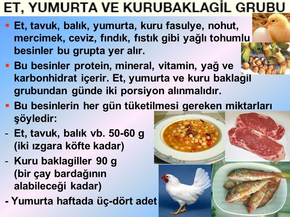 Et, tavuk, balık, yumurta, kuru fasulye, nohut, mercimek, ceviz, fındık, fıstık gibi yağlı tohumlu besinler bu grupta yer alır.