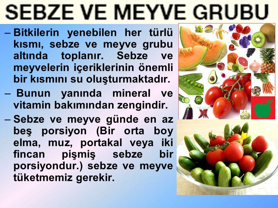 Bitkilerin yenebilen her türlü kısmı, sebze ve meyve grubu altında toplanır. Sebze ve meyvelerin içeriklerinin önemli bir kısmını su oluşturmaktadır.