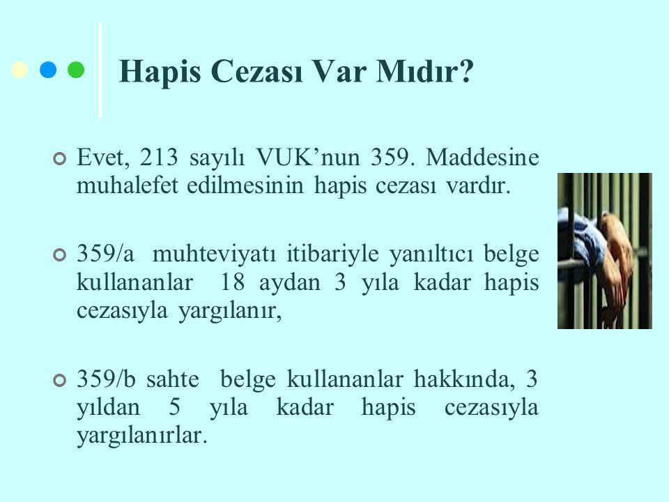 Hapis Cezası Var Mıdır Evet, 213 sayılı VUK'nun 359. Maddesine muhalefet edilmesinin hapis cezası vardır.