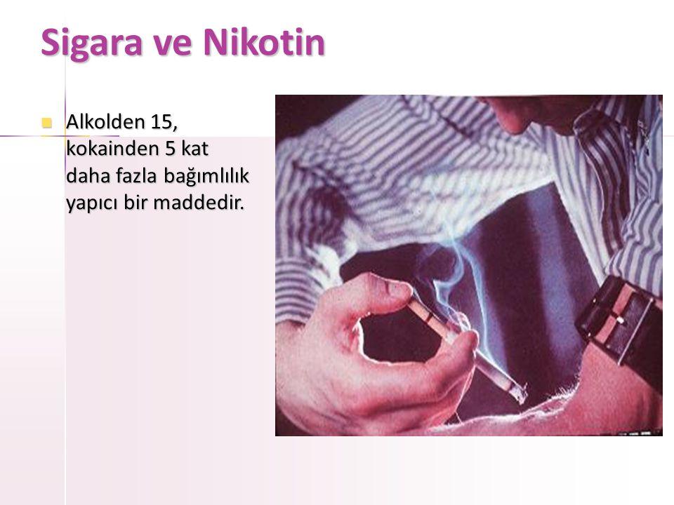 Sigara ve Nikotin Alkolden 15, kokainden 5 kat daha fazla bağımlılık yapıcı bir maddedir.
