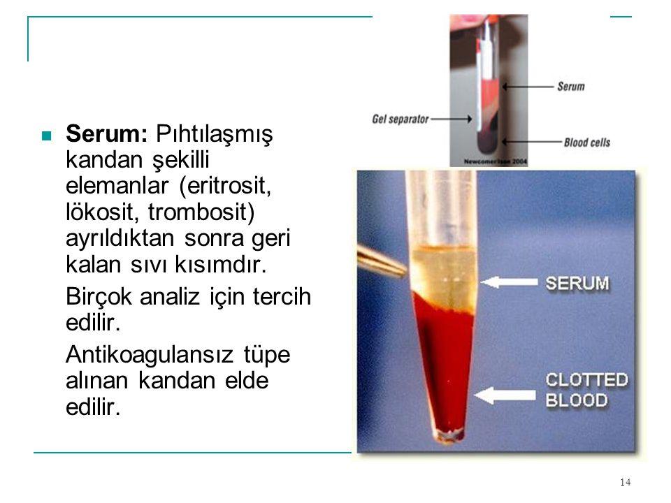 Serum: Pıhtılaşmış kandan şekilli elemanlar (eritrosit, lökosit, trombosit) ayrıldıktan sonra geri kalan sıvı kısımdır.