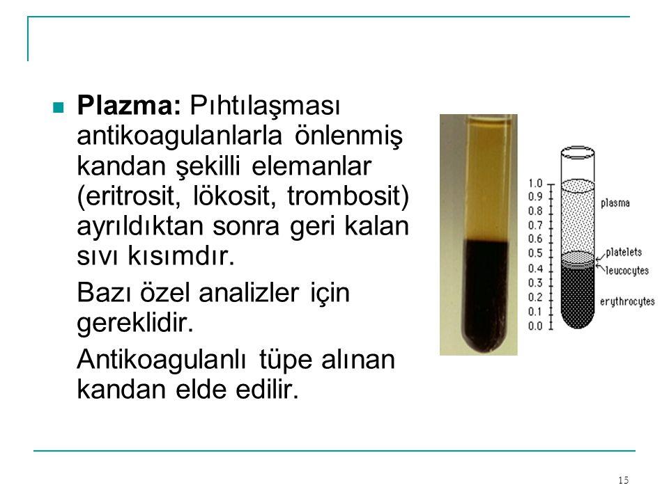 Plazma: Pıhtılaşması antikoagulanlarla önlenmiş kandan şekilli elemanlar (eritrosit, lökosit, trombosit) ayrıldıktan sonra geri kalan sıvı kısımdır.