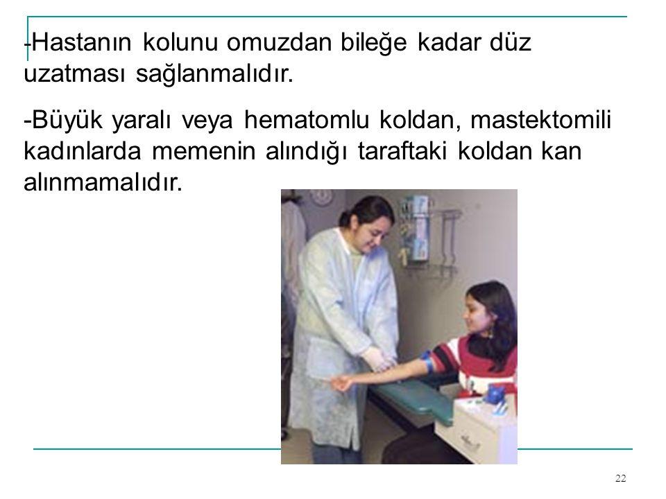 -Hastanın kolunu omuzdan bileğe kadar düz uzatması sağlanmalıdır.