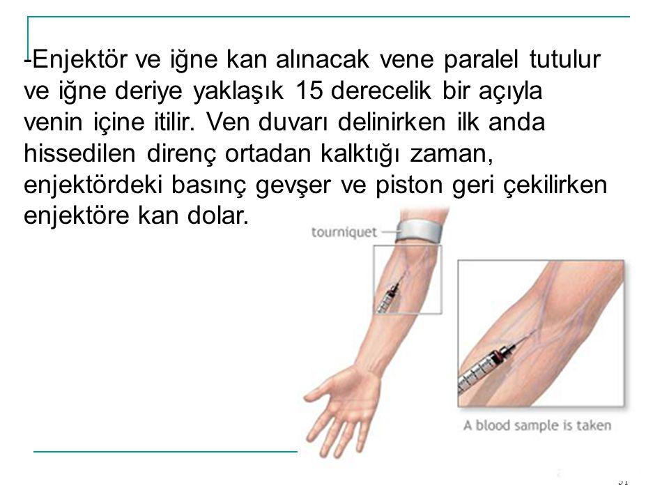 -Enjektör ve iğne kan alınacak vene paralel tutulur ve iğne deriye yaklaşık 15 derecelik bir açıyla venin içine itilir.