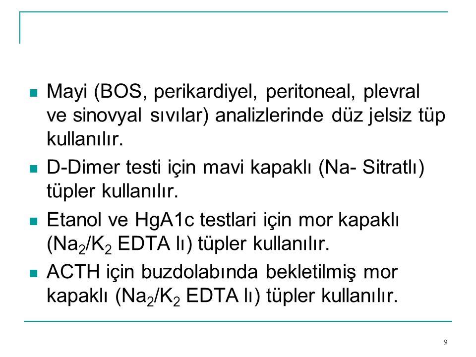 Mayi (BOS, perikardiyel, peritoneal, plevral ve sinovyal sıvılar) analizlerinde düz jelsiz tüp kullanılır.