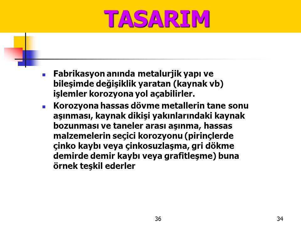 TASARIM Fabrikasyon anında metalurjik yapı ve bileşimde değişiklik yaratan (kaynak vb) işlemler korozyona yol açabilirler.