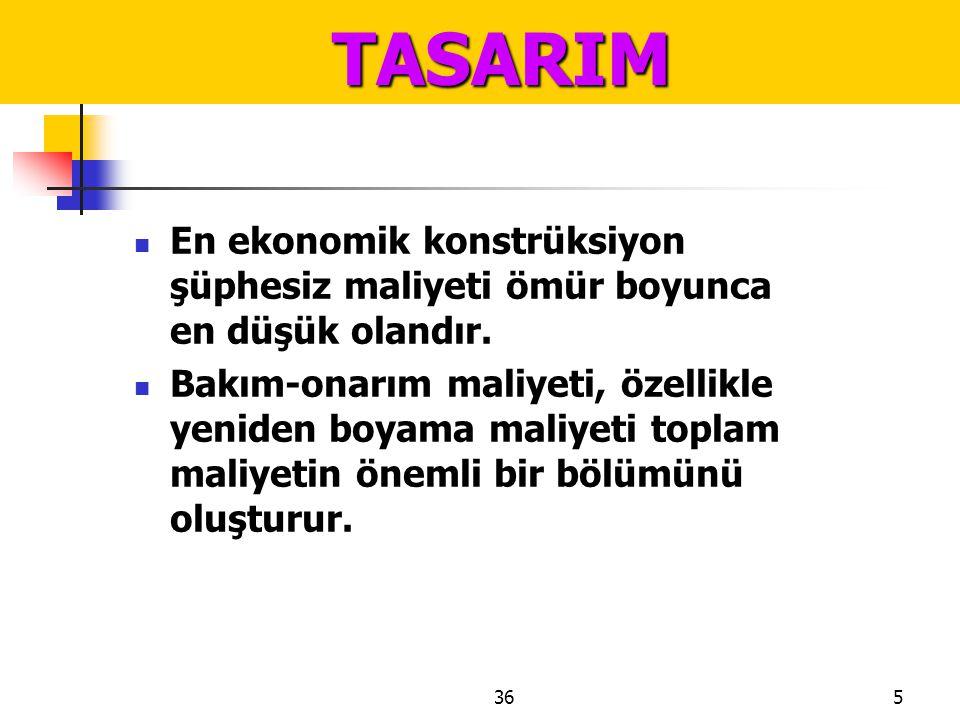 TASARIM En ekonomik konstrüksiyon şüphesiz maliyeti ömür boyunca en düşük olandır.