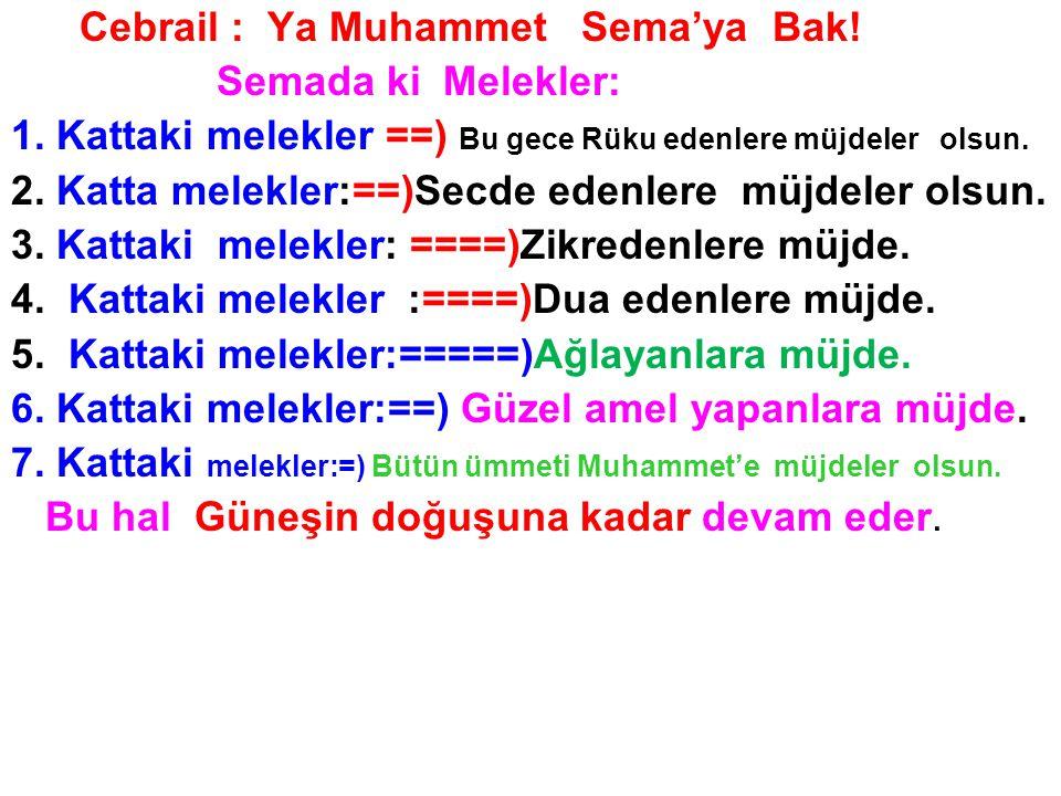 Cebrail : Ya Muhammet Sema'ya Bak!