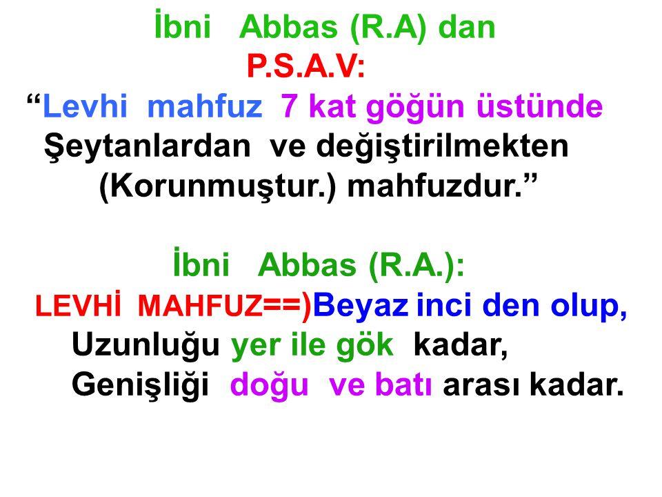 İbni Abbas (R.A) dan P.S.A.V: Levhi mahfuz 7 kat göğün üstünde. Şeytanlardan ve değiştirilmekten.