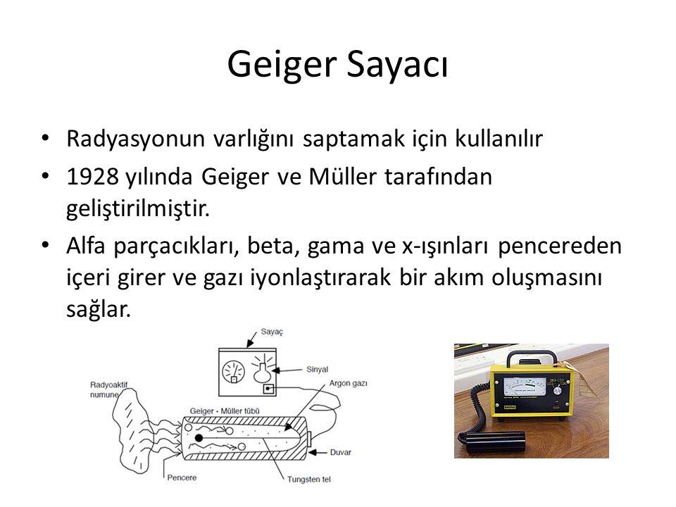 Geiger Sayacı Radyasyonun varlığını saptamak için kullanılır