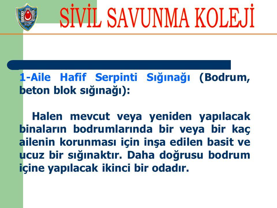 1-Aile Hafif Serpinti Sığınağı (Bodrum, beton blok sığınağı):