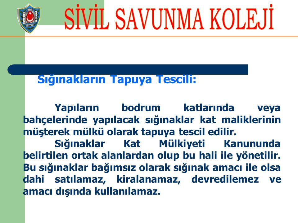 Sığınakların Tapuya Tescili: