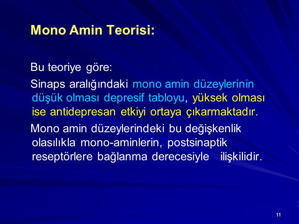 Mono Amin Teorisi: Bu teoriye göre: