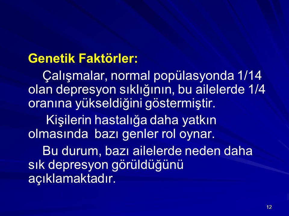 Genetik Faktörler: Çalışmalar, normal popülasyonda 1/14 olan depresyon sıklığının, bu ailelerde 1/4 oranına yükseldiğini göstermiştir.